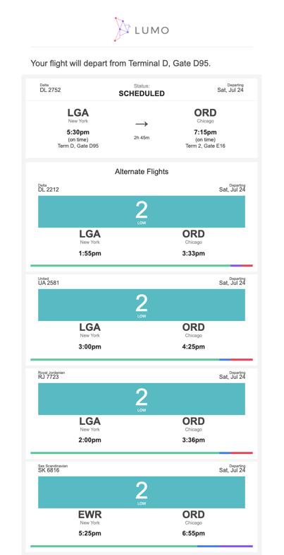 Alert showing departure gate information and listing alternatives.
