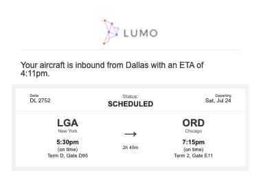 Alert letting you know that your aircraft is on its way from Dallas.