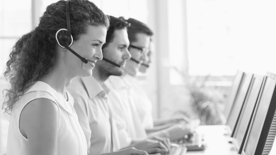 Product images website navigator smiling call center agent.