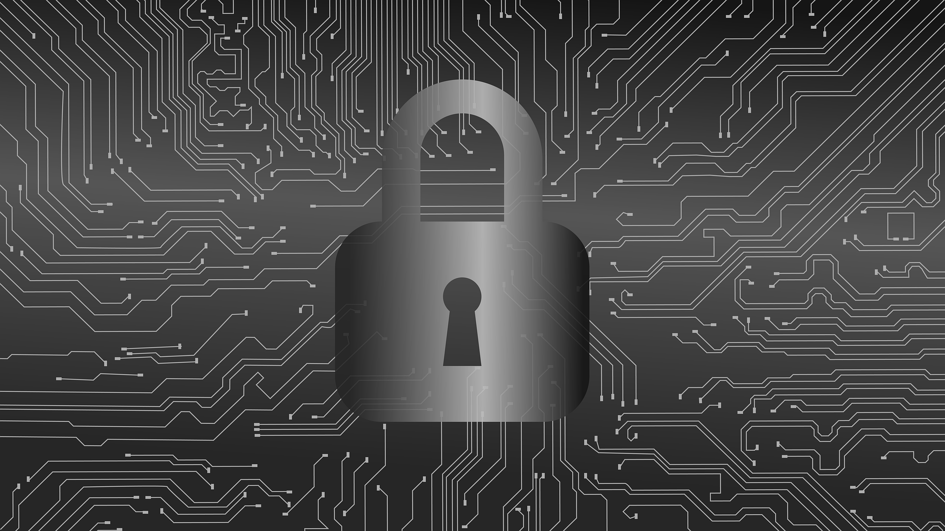 picture of lock with background of a computer chip